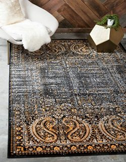Unique Loom Imperial Collection Modern Traditional Vintage Distressed Black Area Rug (8′ x ...