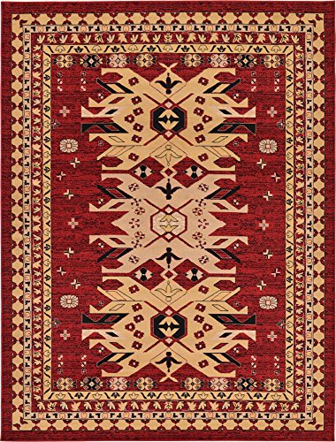 Classic Traditional Geometric Persian Design Area rugs Red 8′ 11 x 12′ Qashqai Heriz rug