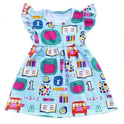 Toddler Girls Apple Printed Back to School Pearls Milk Silk Dress (2T)