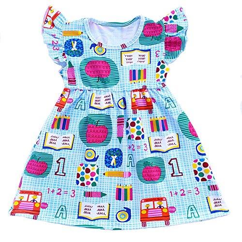 Toddler Girls Apple Printed Back to School Pearls Milk Silk Dress (2T)