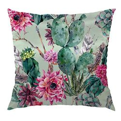 Moslion Cactus Pillow Case Decorative Throw Pillow Cover Green Plants Cactus Flower Satin Square ...