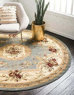 Unique Loom Versailles Collection Traditional Classic Light Blue Round Rug (6′ x 6′)