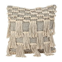 SARO LIFESTYLE Moroccan Wedding Blanket Style Design Fringe Cotton Down Filled Throw Pillow, 18& ...