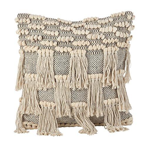 SARO LIFESTYLE Moroccan Wedding Blanket Style Design Fringe Cotton Down Filled Throw Pillow, 18& ...