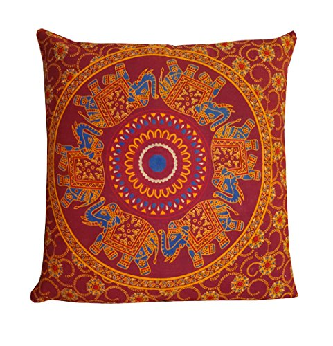 Indian Maroon Elephant Mandala Throw Ethnic Tribal Vintage, Decorative Pillow Cushion Cover, Ins ...