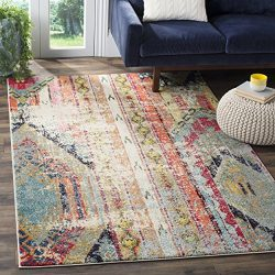 Safavieh Monaco Collection Modern Bohemian Multicolored Distressed Area Rug (8′ x 11′)