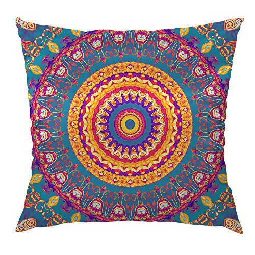 Moslion Mandala Pillow Home Decorative Throw Pillow Cover Case Symmetrical Square Pattern Satin  ...