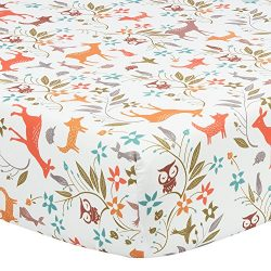 TILLYOU Microfiber Crib Sheet Fox & Deer, Silky Soft Toddler Sheets for Baby Boys and Girls, ...