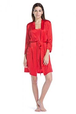 Fishers Finery Women's 100% Pure Mulberry Silk Robe; Above Knee (Red, XL)