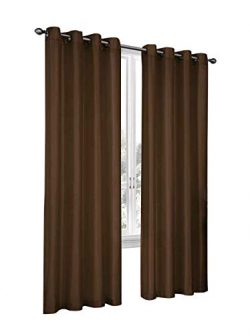 Regal Home Collections 2 Pack Semi Sheer Faux Silk Grommet Curtains – Assorted Colors (Brown)