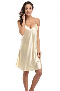 KimonoDeals Women's Satin Nightshirts Camisole Nightgown Chemises Slip Sleepwear, Beige L