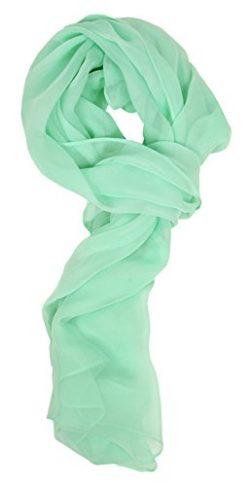 Love Lakeside Modern Chiffon Solid Color Silk Blend Oblong Scarf Mint Green