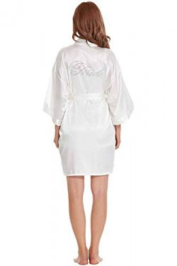 TIMSOPHIA Women Robes Pure Colour Short Kimono Robes Silk Satin Robes for Bride and Bridesmaid W ...