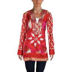Tory Burch Womens Iveta Silk Embellished Tunic Top