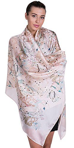 100% Silk Scarf for Women Ladies Printed Shawl Wrap Headscarf Long Large Lightweight Satin Pink  ...