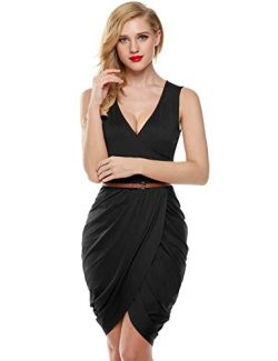 ELESOL Women Sexy Plunging V Neck Club Dress Ruched Knee Length Silk Midi Dress Black M