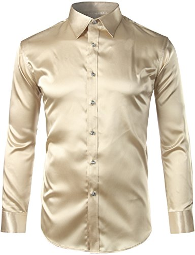 ZEROYAA Mens Regular Fit Long Sleeve Shiny Satin Silk Like Dance Prom Dress Shirt Tops Z6 Champa ...