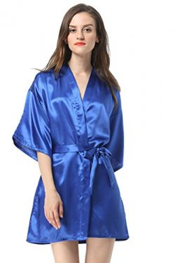 Vogue Forefront Women's Satin Plain Short Kimono Robe Bathrobe, XX-Large, Royal Blue