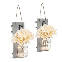 Chen Mason Jar Sconces LED – Fairy Lights,Vintage Wrought Iron Hooks, Silk Hydrangea Flowe ...