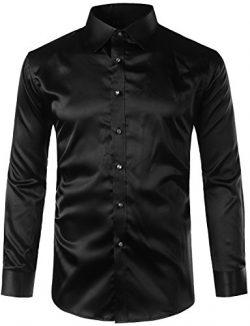 ZEROYAA Mens Regular Fit Long Sleeve Shiny Satin Silk Like Dance Prom Dress Shirt Tops Z6 Black  ...