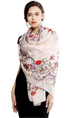 100% Silk Scarfs for Women Long Large Lightweight Shawl Sunscreen Printed Scarves