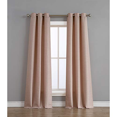 Tribeca Home Raw Faux Silk Curtain Panel Pair, 76 in. x 96 in, Blush