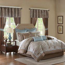 Madison Park Essentials Brystol King Size Bed Comforter Set Room in A Bag – Blue, Taupe, J ...