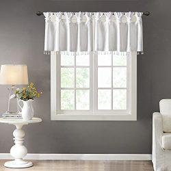 Emilia Faux Silk Valances for Windows with Beads  , Elegant window valance   , 50″W X 26&# ...