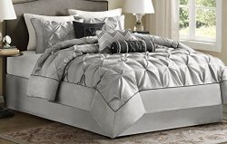 Madison Park Laurel Queen Size Bed Comforter Set Bed in A Bag – Grey, Wrinkle Tufted Pleat ...