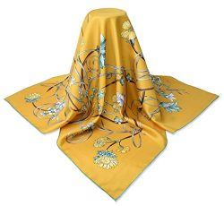 corciova 35″ 14 Timmy Twill 100% Real Mulberry Silk Square Women Scarfs Scarves Naples Yel ...