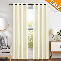 Faux Silk Window Curtains for Living Room 95 inches Long Light Reducing Dupioni Curtain Panels f ...