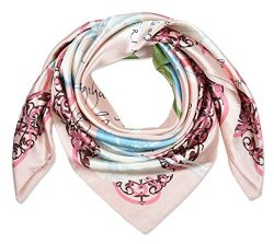 corciova 35″ Women's Polyester Silk Feeling Square Hair Scarf Headscarf Salmon Pink  ...