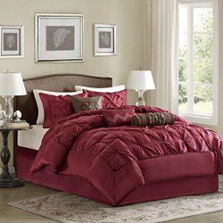 Madison Park Laurel King Size Bed Comforter Set Bed in A Bag – Burgundy, Wrinkle Tufted Pl ...