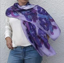 Artistic Hand Painted and Printed Summer Silk Scarf Lilac Violet Pink Purple Flowers Boho Lightw ...