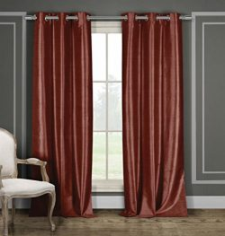 Duck River Textiles Daenerys Heavy Faux Silk Blackout Window Curtain Set of 2 Panels, 38 x 84, B ...