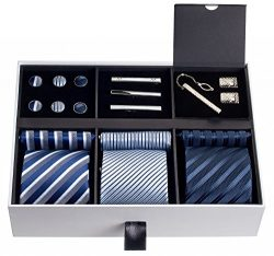 Premium Men's Gift Tie Set Luxury Silky Necktie Set Pocket Squares Tie Clips Cufflinks Deluxe Bo ...