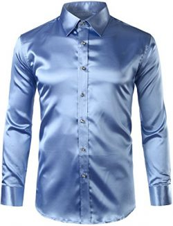 ZEROYAA Mens Regular Fit Long Sleeve Shiny Satin Silk Like Dance Prom Dress Shirt Tops Z6 Light  ...