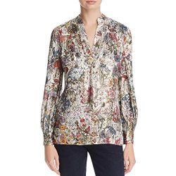 Tory Burch Womens Metallic Silk Blouse