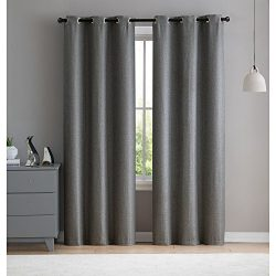 VCNY Home Salma Faux Silk Blackout Curtain Panel Pair, 76×96, Charcoal