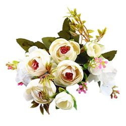 Artificial Flowers, MaxFox Silk Fake Peony Bouquet Vintage Bouquets Home Office Wedding Party De ...