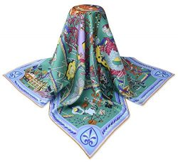 corciova 35″ 14 Timmy Twill 100% Real Mulberry Silk Square Women Scarfs Scarves Pearl Aqua ...