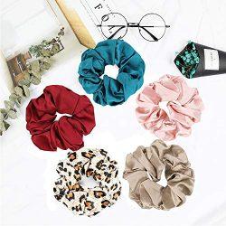 Mommesilk Set of 5 Pieces Silk Hair Scrunchies Elastic Bobbles Hair Ties Band for Women Hair Car ...