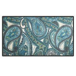 Silk & Sultans Agathe Collection Contemporary Blue Paisley Design, Pet Friendly, Non-Slip Do ...