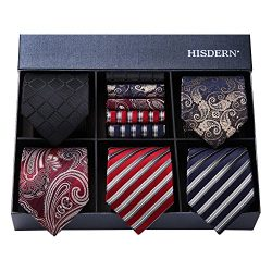 HISDERN Men's Necktie Collections, Lot 5 PCS Classic Men's Silk Tie Set Necktie &#03 ...