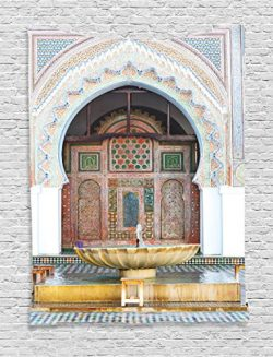 Ambesonne Arabian Decor Collection, Golden Historical Fountain Photo in Morocco Africa Old Antiq ...