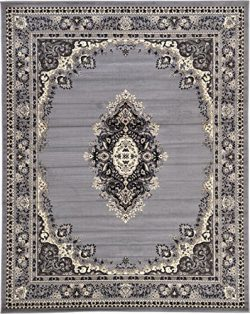 Unique Loom Reza Collection Classic  Traditional Gray Area Rug (8′ x 10′)