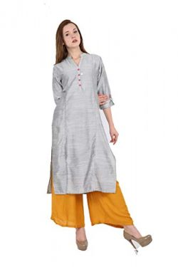 Lagi Kurtis Ethnic Women Kurta Kurti Tunic Solid A-Line Polly Silk Kurta Top Dress Casual Wear L ...