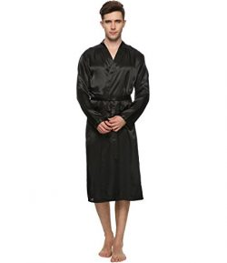 FAYBOX Men Satin Robe Long Bathrobe Lightweight Sleepwear Black XL
