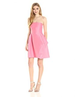 Halston Heritage Women's Strapless Silk Faille Dress with Folded Drape Skirt, Peony, 4