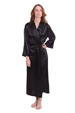 TexereSilk Women's 100% Long Silk Robe – Luxury Bathrobe (Perla Naturale, Black, Sma ...